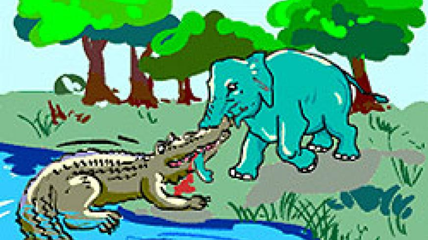 The crocodile pulled at Elephant's nose.