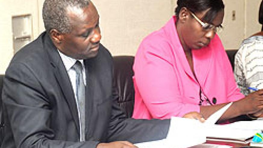 Chairperson of the Parliamentary Standing Committee on Political Affairs, Alfred Rwasa (L), and his deputy Yvonne Uwayisenga The New Times / J. Mbanda