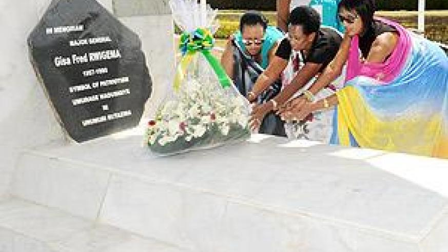 The Family of Maj. Gen. Fred Rwigema lays wreaths on his grave during the Heroes Day commemoration on Wednesday. The Sunday / John Mbanda.