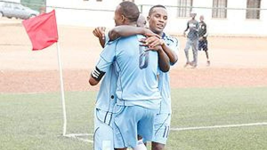 Isonga players celebrate after scoring in a past league match. The youthful side stunned Rayon 3-1 on Saturday. The New Times / File.