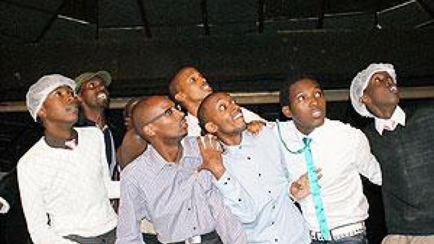 Rwandan comedians during one of the Comedy Knight shows. Net photo.