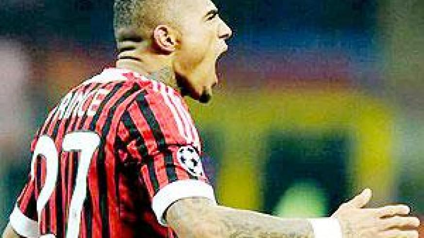 Boateng scored Milan's opener in a 4-0 drubbing against Arsenal in last week's Champions League tie. Net photo.
