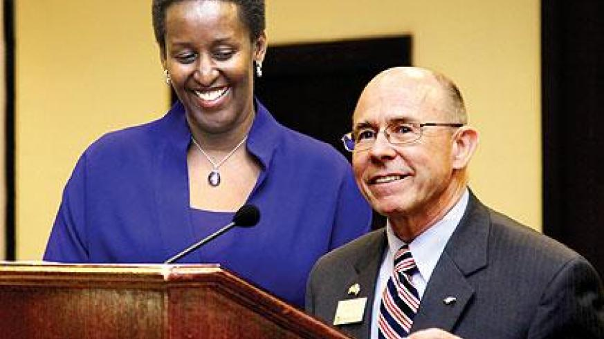 First Lady Jeannette Kagame (L) together with Dr. Mike O'Neal, President of Oklahoma Christian University (OCU) at a reception held at the Kigali Serena Hotel, to celebrate the partnership between OCU and the Government of Rwanda.  The Sunday Times/ Timot