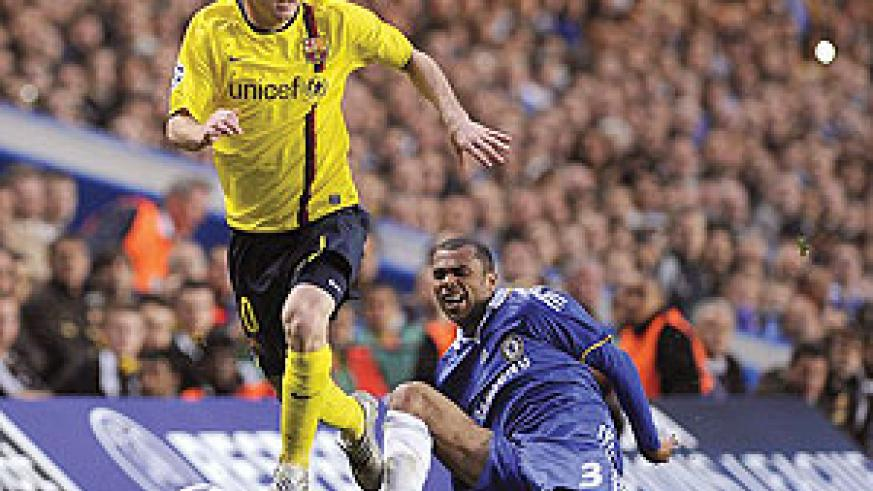 Lionel Messi gave Ashley Cole the runaround in 2009 and will be a handful again for Chelsea. Net photo.