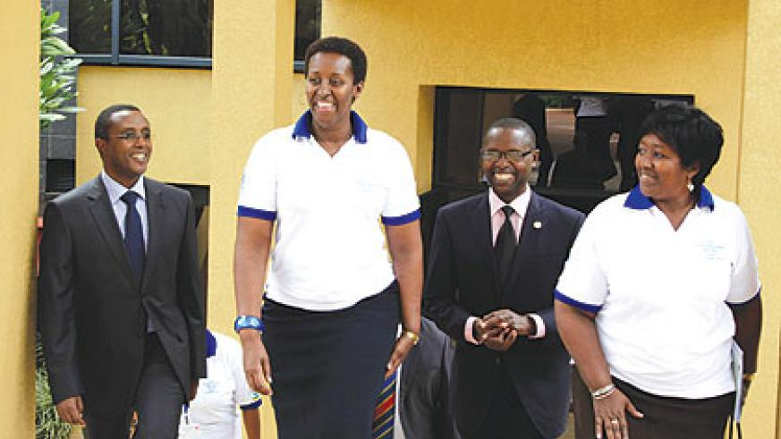 (L-R) Minister of Education, Vincent Biruta; First Lady Jeannette Kagame; Minister of State for Primary and Secondary Education, Mathias Harebamungu; and Health Minister, Agnes Binagwaho; after the meeting yesterday. The New Times / Timothy Kisambira.