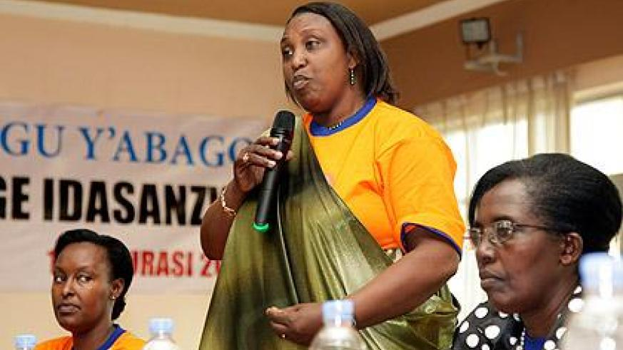 Hon. Alphosine Mukarugema addressing women during their General Assembly, yesterday. The Sunday Times / Timothy Kisambira.