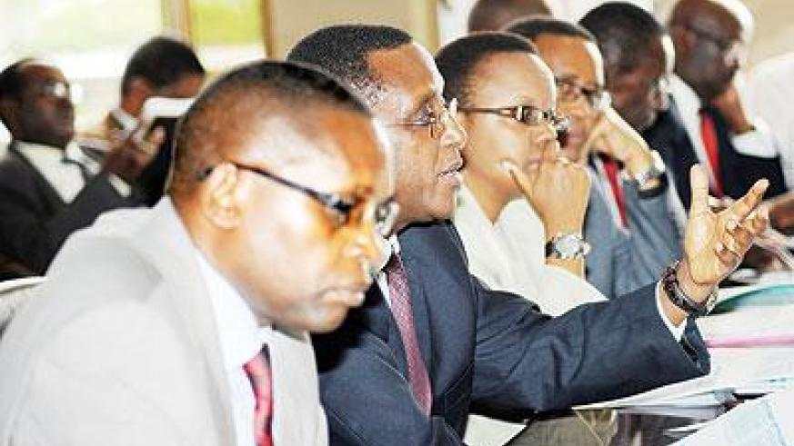 Education Ministry officials led by Minister Vincent Biruta (2L) appeared before the Parliamentary Budget Committee. The Sunday Times / John Mbanda.