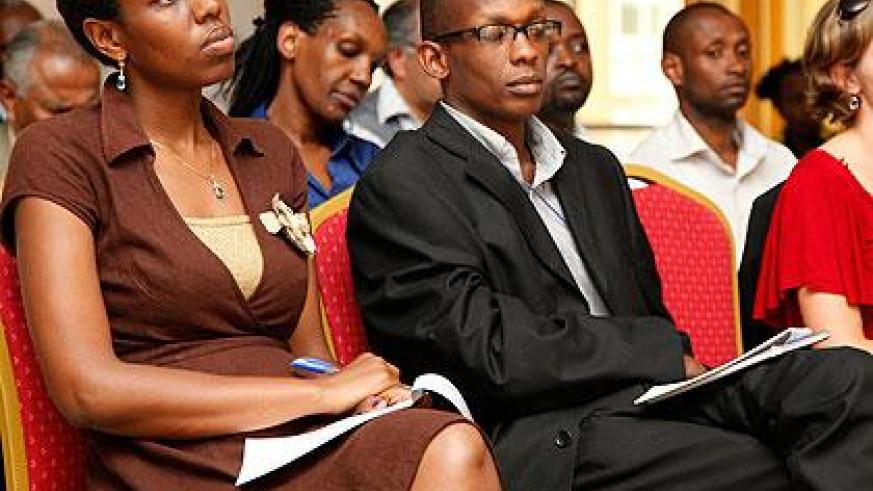 Participants listening to a presentation during the entrepreneurs week at Lemigo Hotel. The Sunday Times / T. Kisambira.