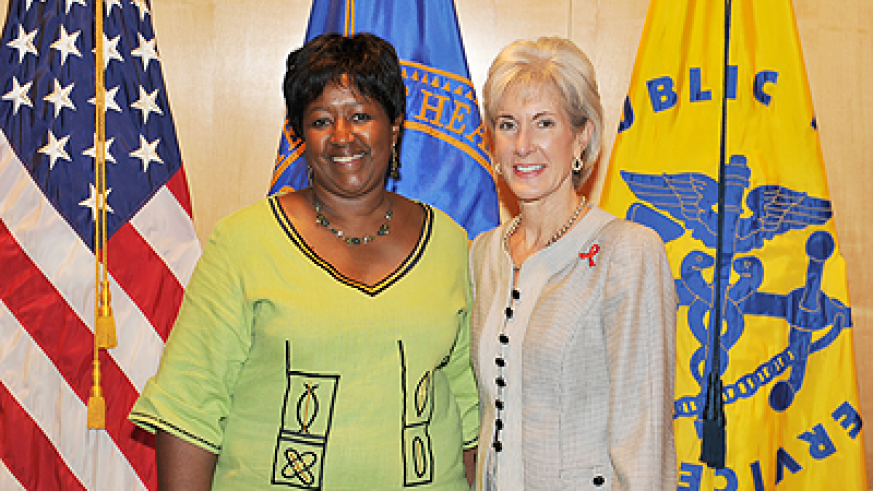 Health Minister Agnes Binagwaho (L) with the United States Secretary of Health and Human Services, Kathleen Sebelius at the nineteenth International AIDS Conference in Washington DC, early this week. Courtesy photo.