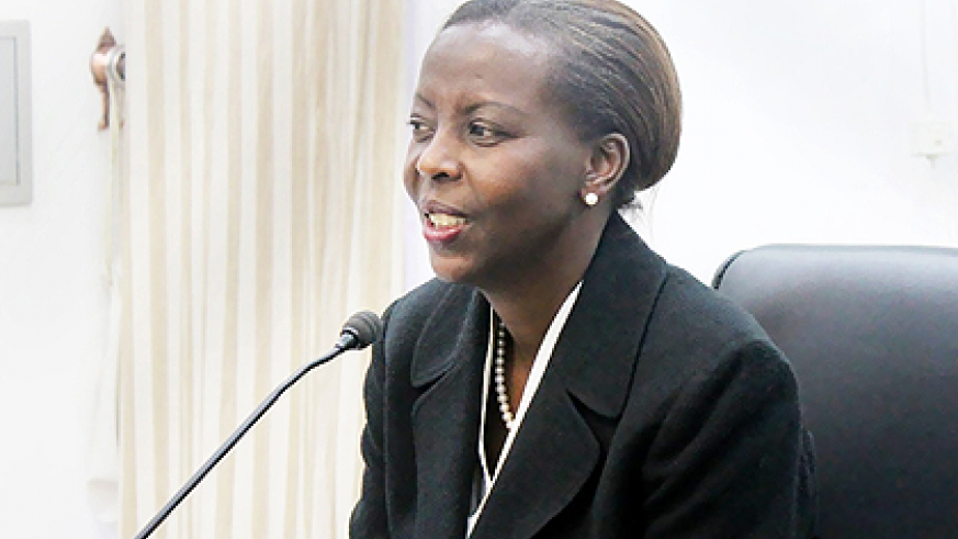 Foreign Affairs Minister Louise Mushikiwabo briefing journalists in Kigali yesterday.  The New Times / Courtesy.