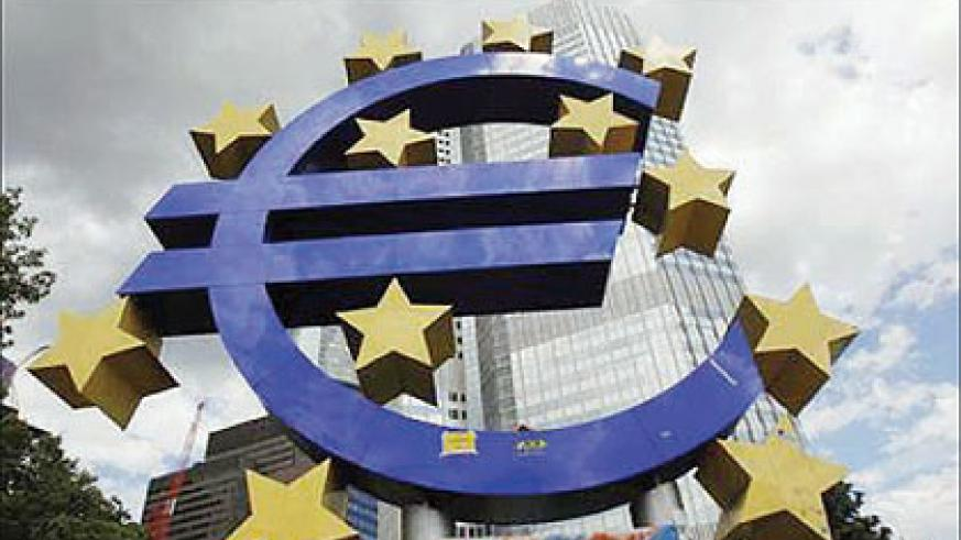 A general view of a structure of the Euro currency sign is seen in front of the European Central Bank (ECB) headquarters in Frankfurt. Net photo.