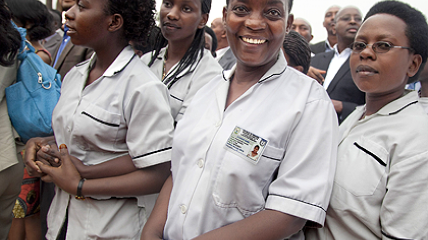 Students of Byumba School of Nursing and midwifery. The Sunday Times / File.