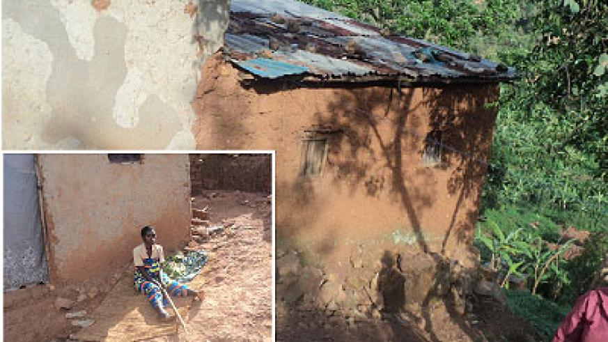 Kagunga houses have borne the brunt of the heavy rains (Inset: Mukamugema Drusilla sitting outside her home).