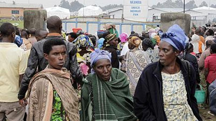 Congolese refugees in Rwanda. Those who had fled their homes last week have started going back. The Sunday Times / File.