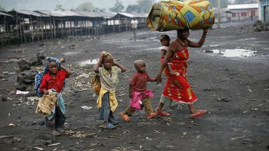 Refugees fleeing the fighting in Goma
