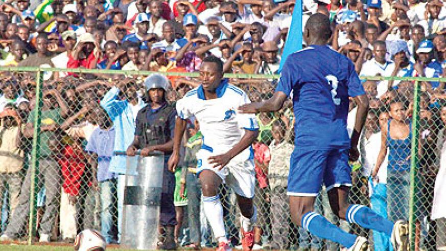 Kambale Salita was too wasteful despite scoring a stunning header to send Rayon Sport into the final.  The New Times /  T. Kisambira.