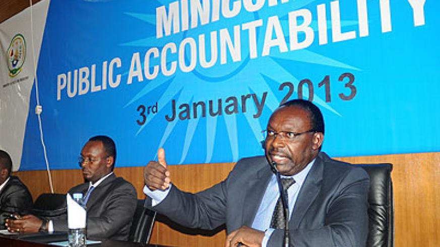 The Minister of Trade and Industry, Francois Kanimba (R), addresses stakeholders at the Public Accountability Day on Thursday. Left is the ministry's Permanent Secretary Emmanuel Hategeka. The New Times/J. Mbanda.