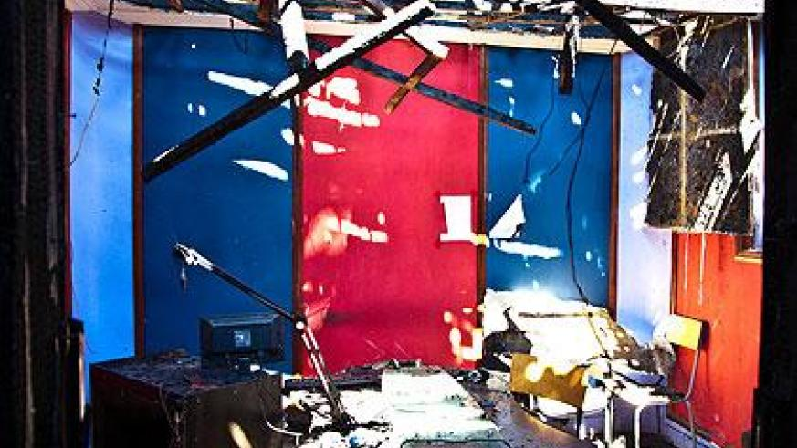 The gutted studio of Isango Star Radio. The New Times / T.Kisambira.