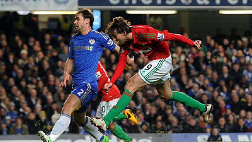 Swansea City's Spanish striker Michu scored in the 2-0 win at Stanford Bridge and will be the Chelsea's biggest threat in the second leg. Net photo.