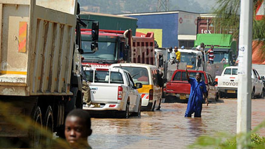 A flooded Nyabugogo road due to a swamp that stretches to Gatsata. The New Times/  File.