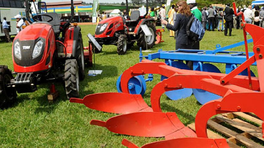 Agricultural machinery displayed at last year's agricultural expo.  The New Times/ File.