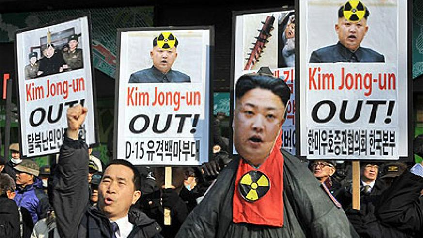 South Korean activists protest with an effigy of North Korean leader Kim Jong-Un during a rally denouncing North Korea's nuclear test in Seoul .  Net photo.