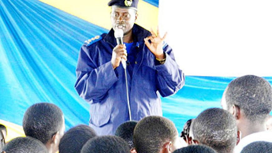 Eastern Region Police commander Elia Mwesige addresses students.  The New Times/ S. Rwembeho