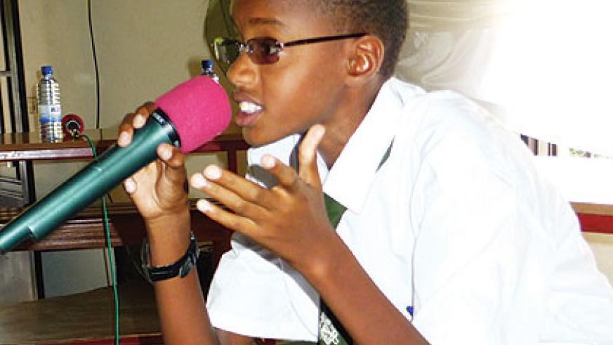 This student entertained fellow students by mimicking the President. Education Times/Allan Brian Ssenyonga