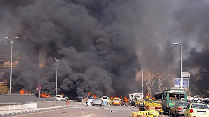 The aftermath of the Damascus car bombing that claimed the lives of 53 people.  Net photo.