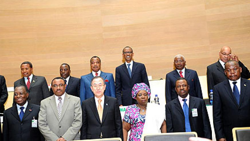 Kagame and other presidents/officials after signing the Peace, Security and Cooperation Framework for the DRC and the Region deal yesterday.  The New Times/ Village  Urugwiro.