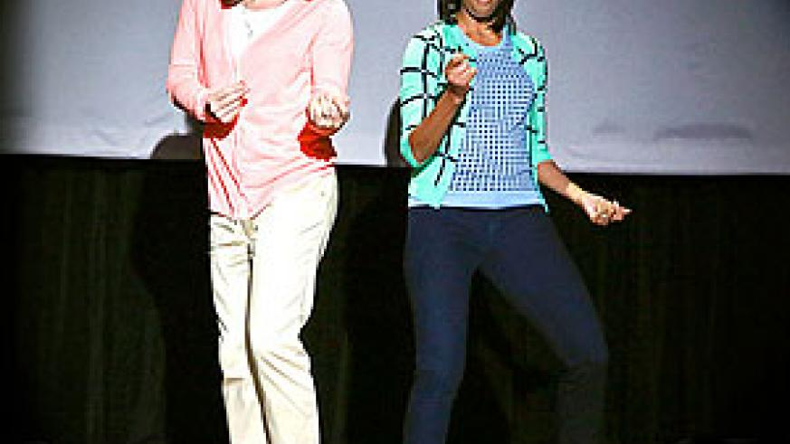 Host Jimmy Fallon with First Lady Michelle Obama during a skit on February 22, 2013.