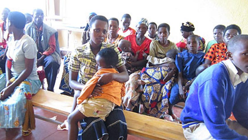 Patients wait for the doctor at Gishubi Health Centre. The New Times/ Jean Bucyensege.
