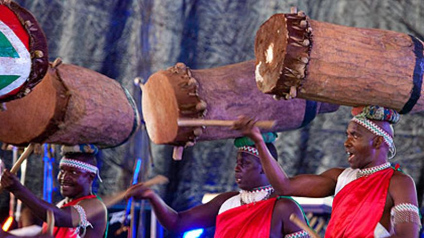 A troupe from Burundi entertains the crowd on the first day of the festival on Sunday. The New Times/Timothy Kisambira.