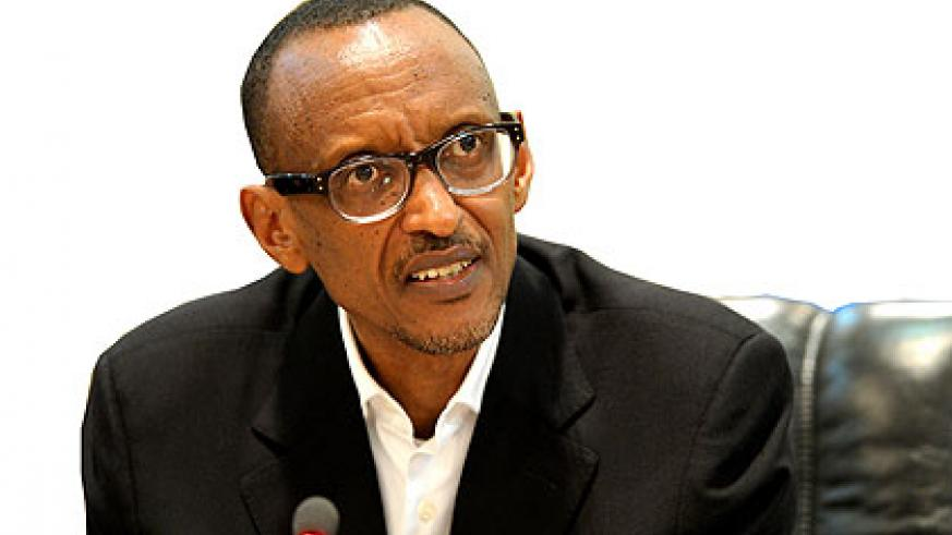 President Kagame during yesterday's news conference. The New Times/Village Urugwiro.