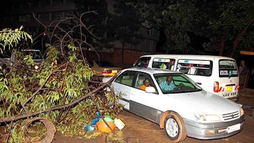 Motorists negotiate their way past a street half-blocked by trees that were felled by last weekend's hailstorm.   The New Times/  John Mbanda.