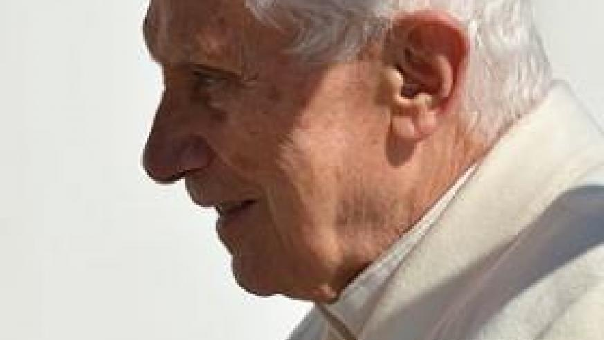 Pope Benedict XVI arrives at St Peter's Square for his last general audience yesterday. Net photo.