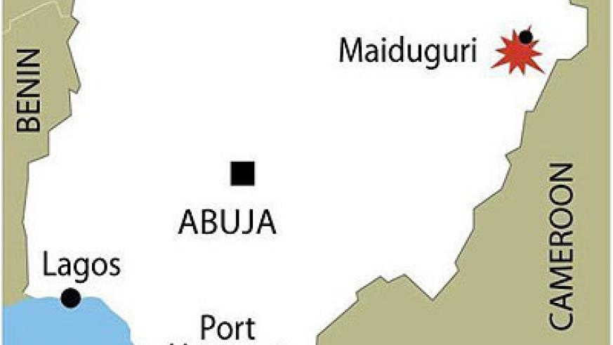 Map of Nigeria locating the violence-hit city of Maiduguri in the country's northeast. A suicide blast at the police headquarters in Nigeria's restive city of Maiduguri killed at l....