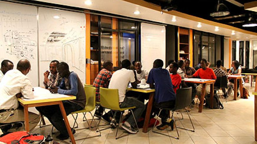 IT enthusiasts share ideas at kLab in Kigali. The New Times/File.