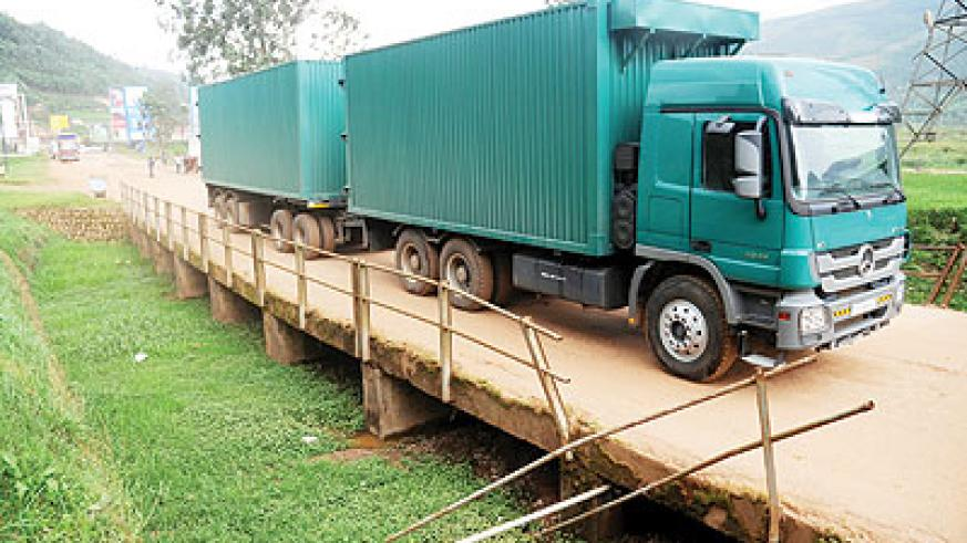 A truck crosses into Rwanda from Uganda at Gatuna. The New Times / File.