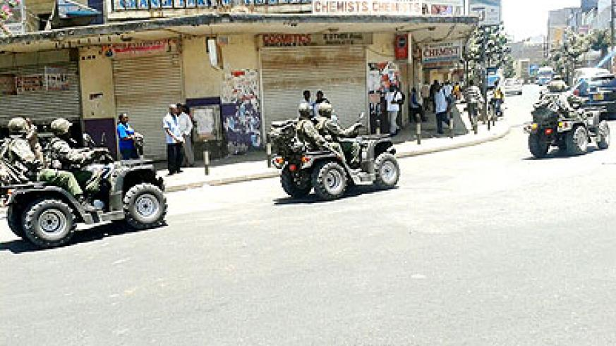 A photo that was trending on social media yesterday shows military officers patrol streets in Nairobi on squad bikes. The Kenyan government said it would leave nothing to chance to ens....