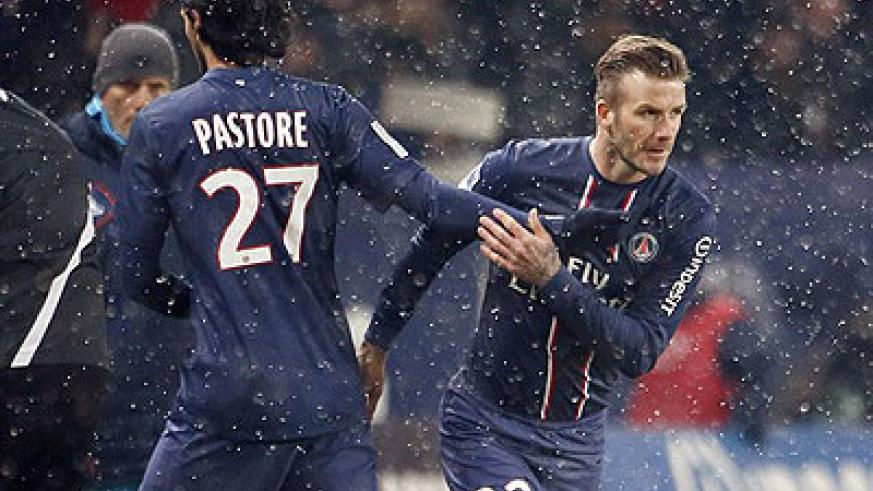 David Beckham (rigt) has been included in PSG squad for the game against Valencia. Net photo.