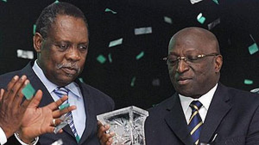 Issa Hayatou and Jacques Anouma in their good times in the past before falling apart. Net photo.