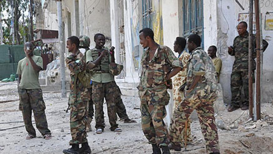 Somali government troops in Mogadishu in a past photo. Net photo.