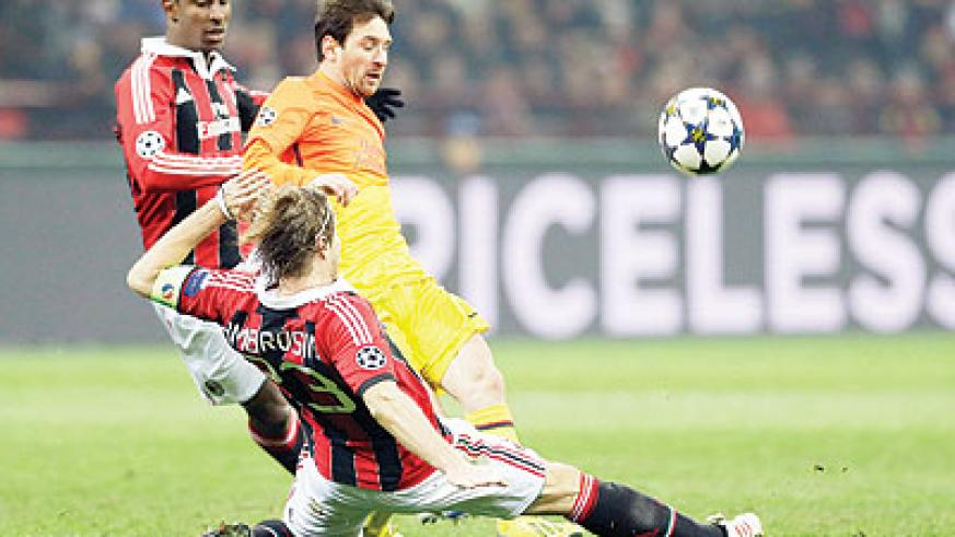 Barcelona foraward Lionel Messi was largely kept quiet in the first leg at San Siro.  Net photo.