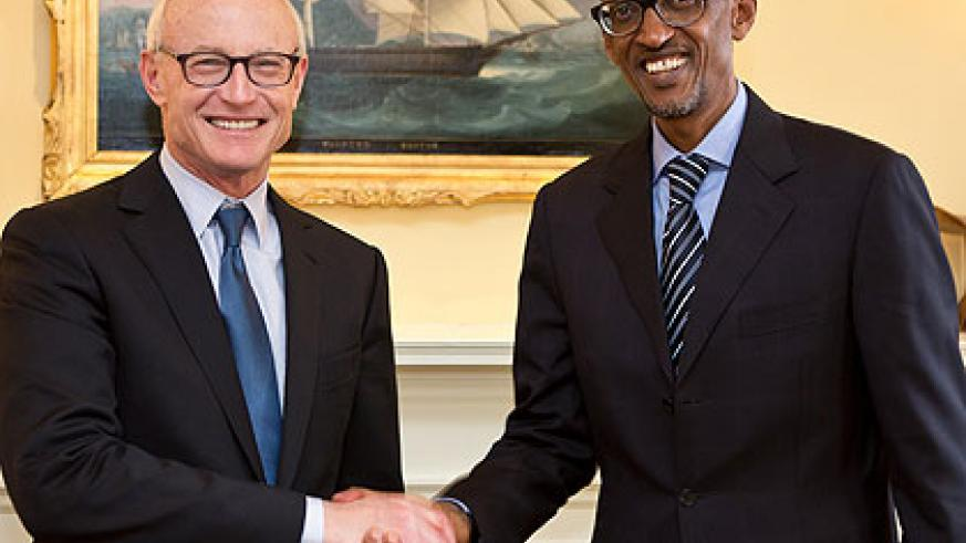 Professor Michael Porter welcomes President Kagame at Harvard Business School yesterday. The President was due to give a lecture in the former's class last evening. The New Times/Villa....