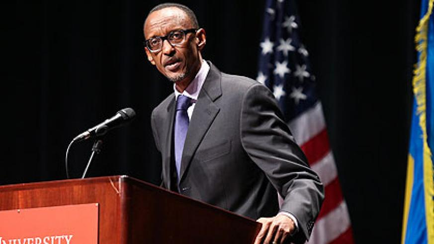 President Kagame speaks at the University of Hartford, marking the launch of the Genocide and Holocaust Education Initiative. Village Urugwiro/The New Times.