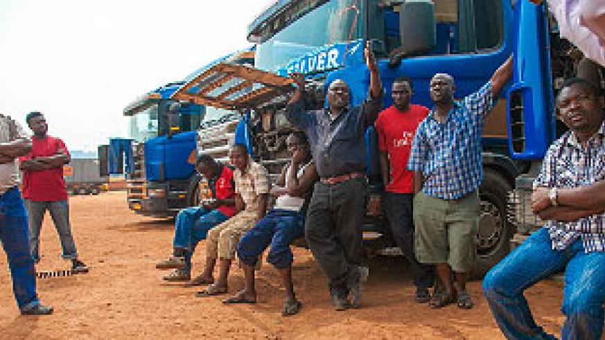 Long distance truck drivers await clearance at Magerwa. The New Times/  File.