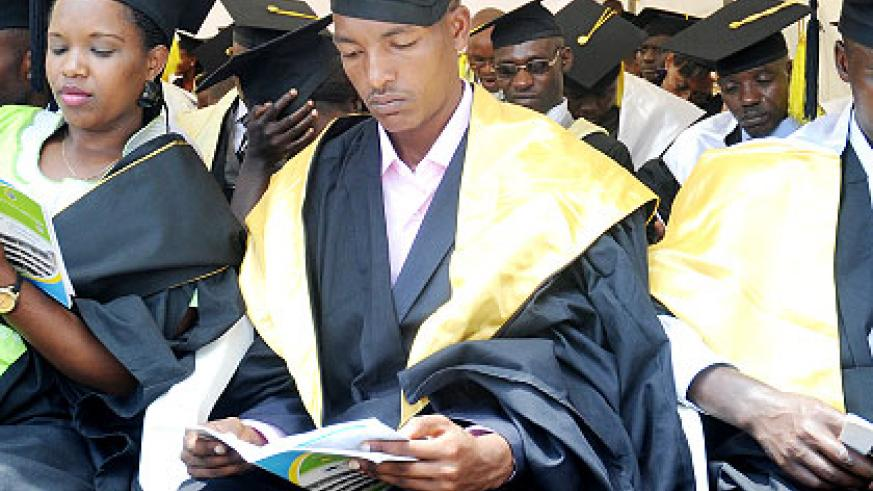 Graduates during a recent ceremony. The government intends to 'revamp' the students' loan scheme. The New Times/ File