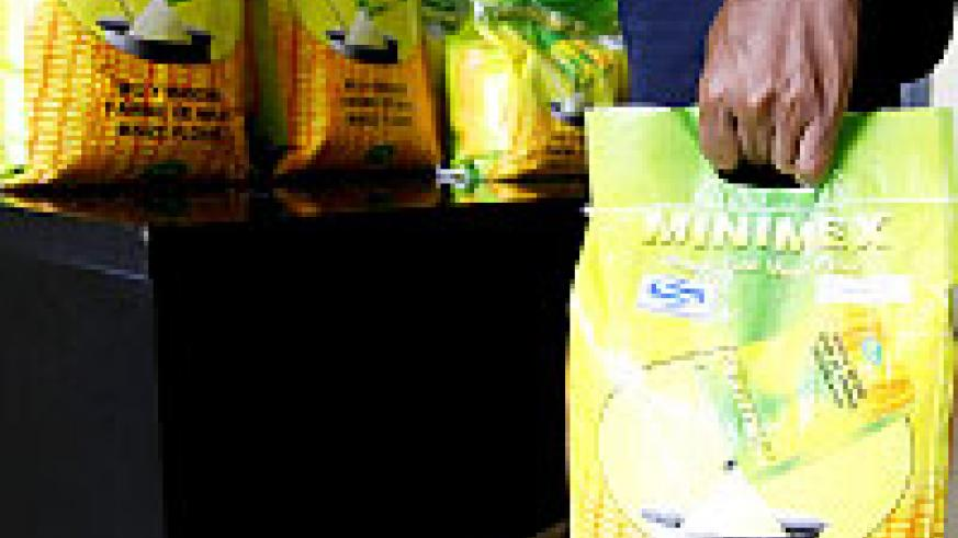 A locally produced maize flour in an approved packaging bag.   The New Times/  File.