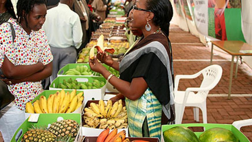 Rwandan exhibitors at a previous agribusiness gathering in Kigali. The New Times/ File.